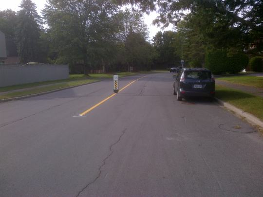 The insertion of safety speed posts is inevitably going to cause navigation problems when placed  by a popular parking area or curb.